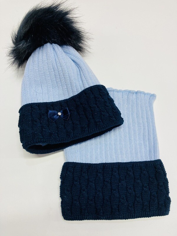 Hat & Snood Set Blue & Navy