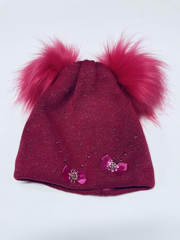 Hat Double Poms Cerise