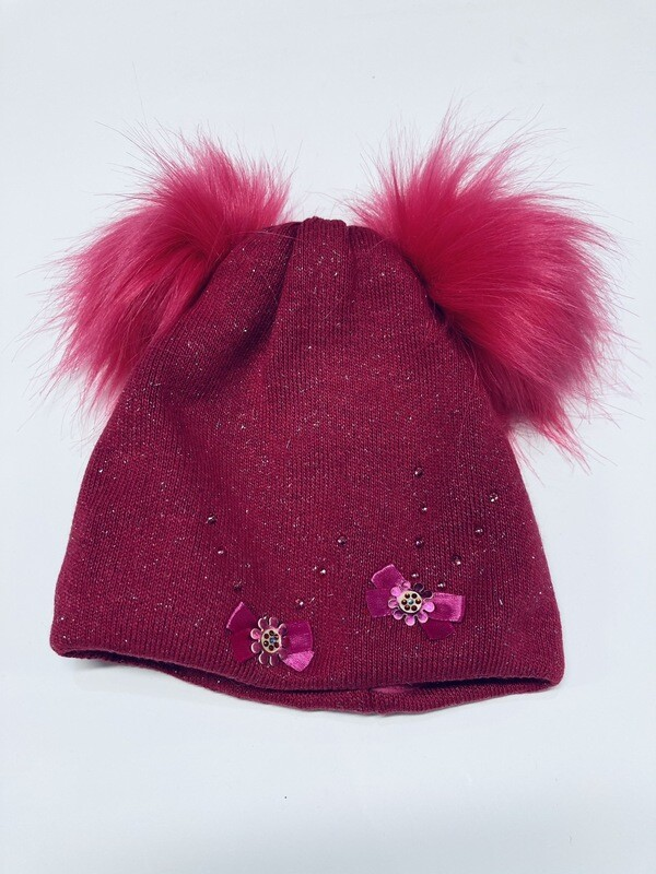 Hat Double Poms Cerise