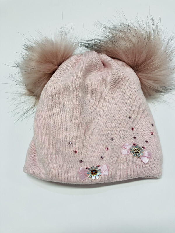 Hat Double Poms Light Pink