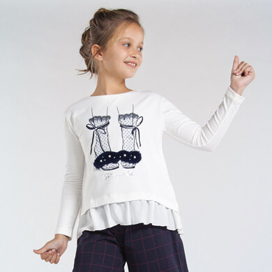 Mayoral Teen Long sleeved combined shoes t-shirt for girl
