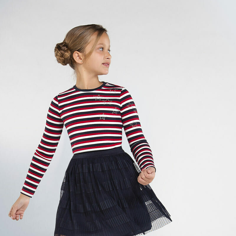 Mayoral Teen Long sleeved striped ribbed t-shirt for girl