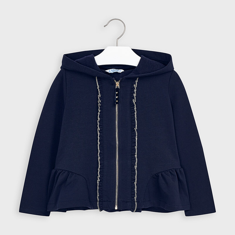 Mayoral Hooded Navy Full Zip sweatshirt for girl