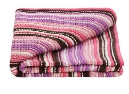 Lilly & Sid ORGANIC BABY Girls KNITTED BABY PINK BLANKET