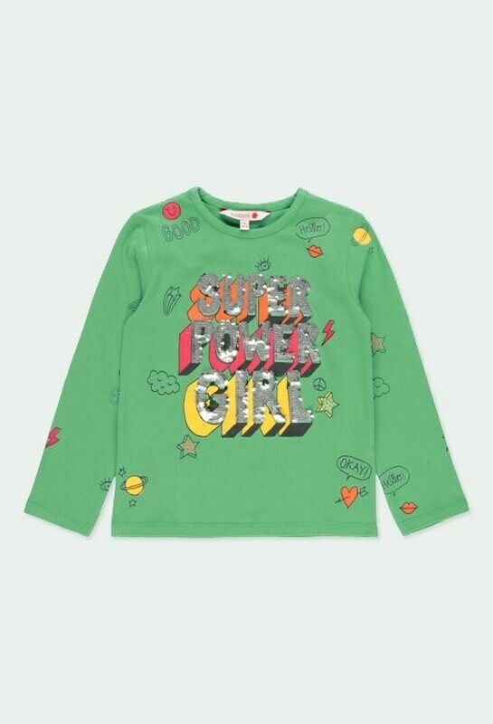 Boboli Girl Stretch jersey top for girls in green. Decorated with a print in various colours and appliqué sequins.