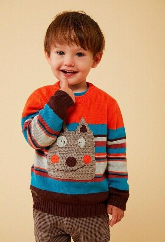 Boboli Baby Boys Knitwear pullover Bright  Orange & Several Colour Stripes