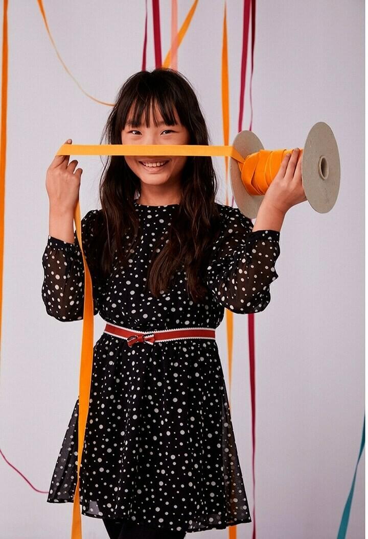 Boboli Girl  Black  polka Dots Chiffon dress