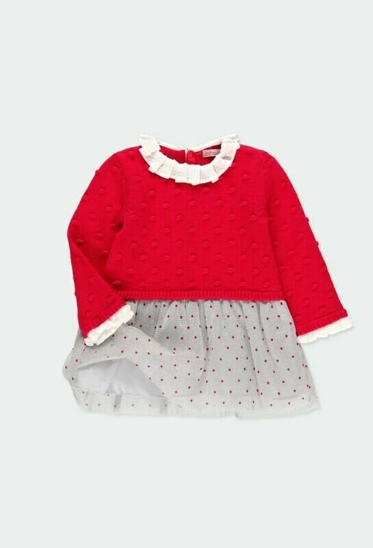 Boboli Baby Girls Red Knitwear combined dress