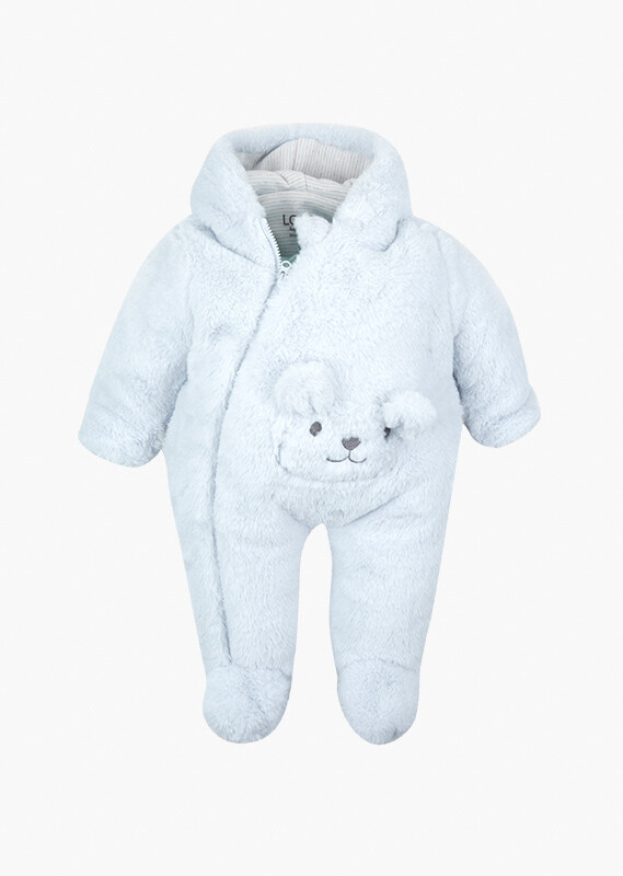 Losan Baby Boy Bear embroidery onesie with a pocket.