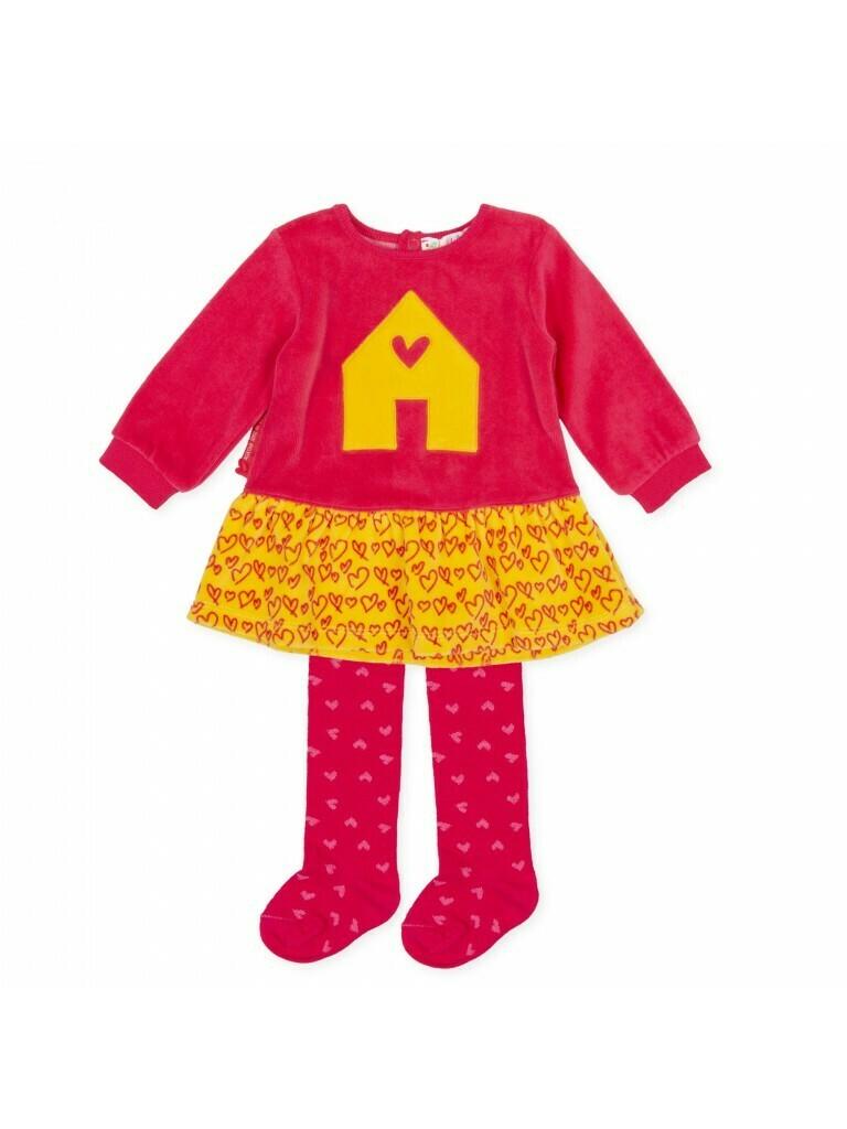 Agatha Ruz De La Prada Baby Girl Velour Dress and matching Tights