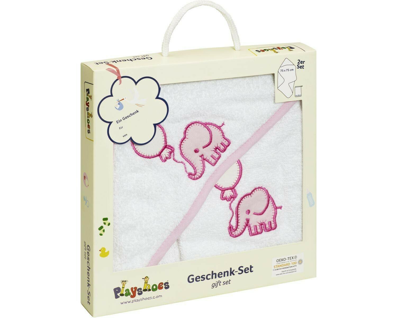 Gift Set Elephant Hooded Bath Towel  PINK Playshoes