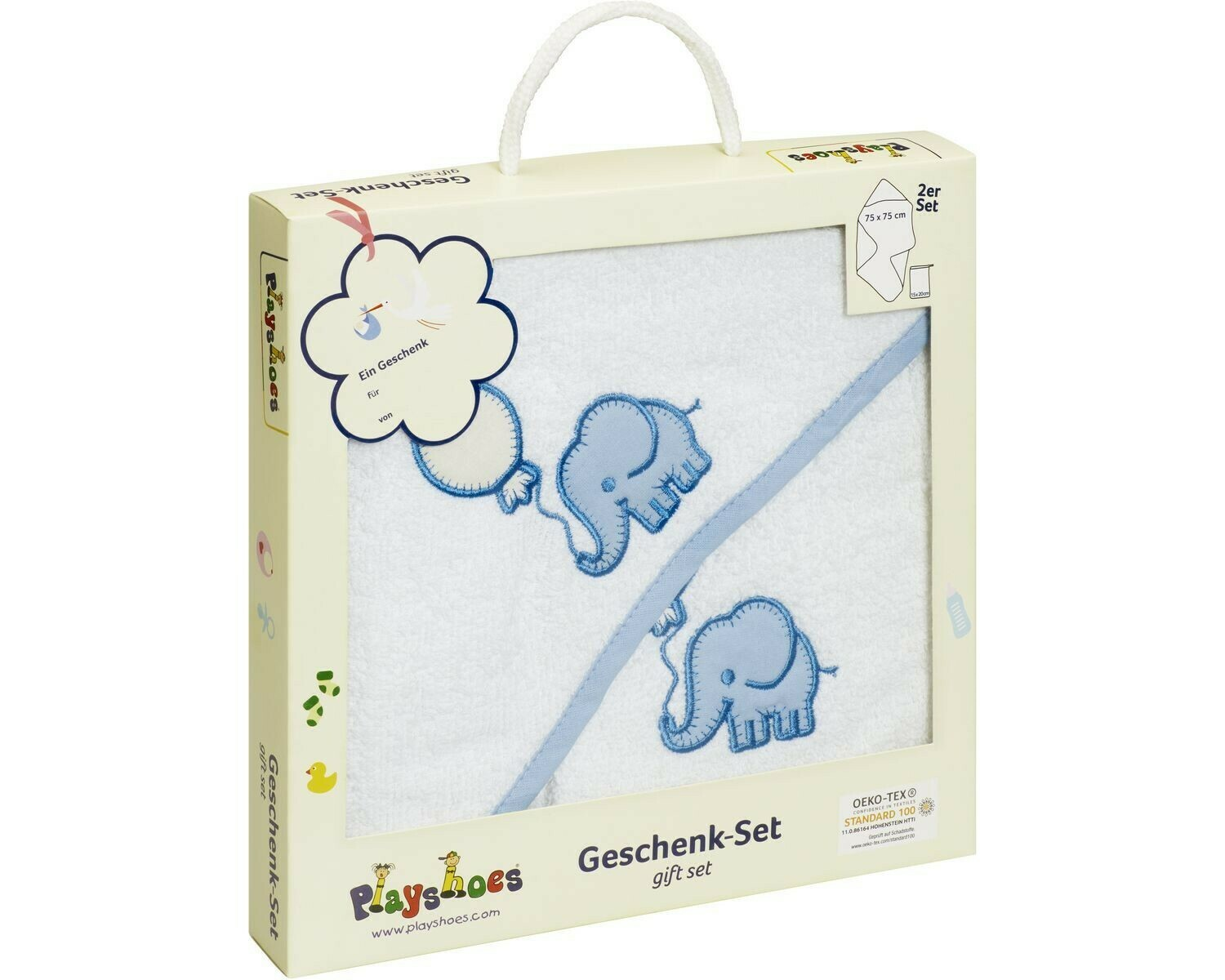 Gift Set Hooded Bath Towel and Mitt Elephant Blue Playshoes