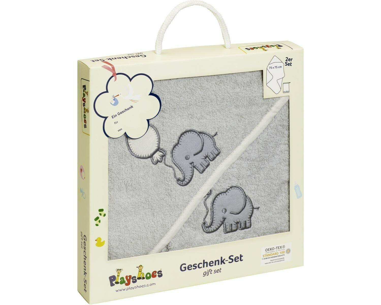 Gift Set Hooded Bath Towel and Mitt Elephant Playshoes