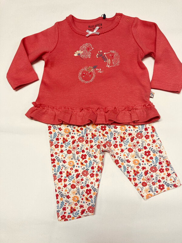 "Blue Seven Baby Girl Two Piece Leggings Set ""Hug Me Print """