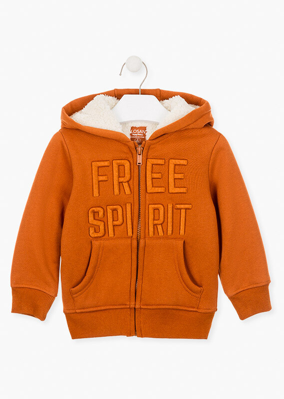 Losan Boys Embroidered graphic front jacket Rust Colour