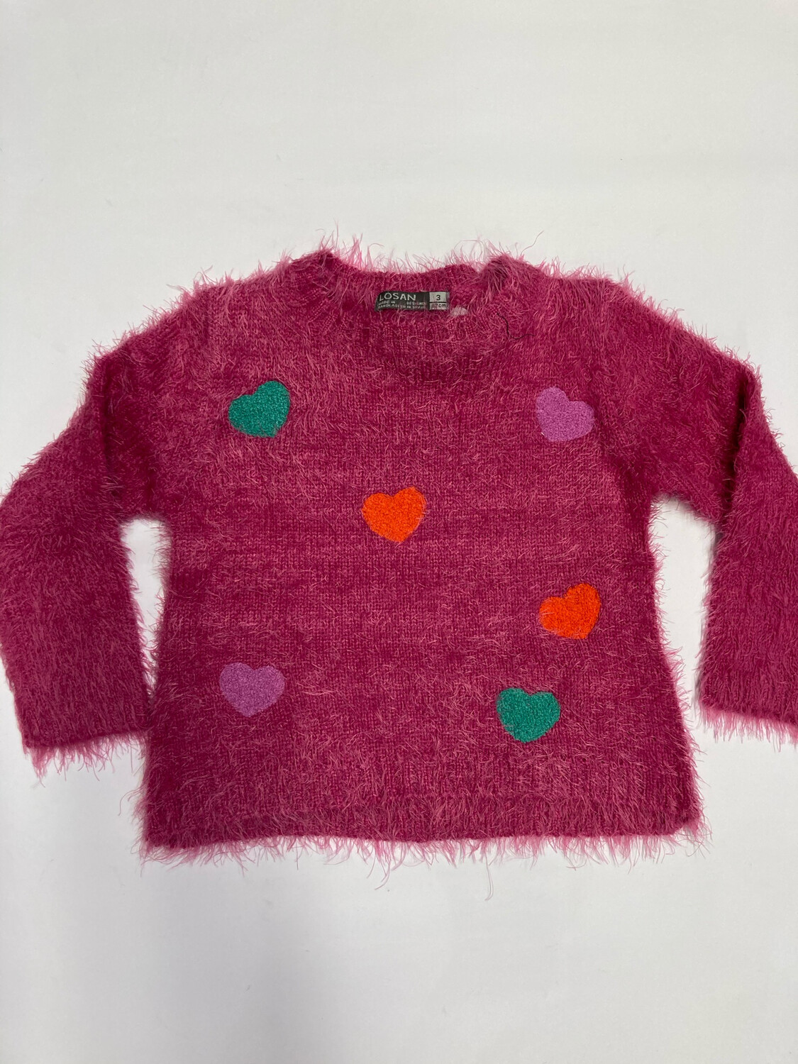 Losan Girls Pink Heart Jumper