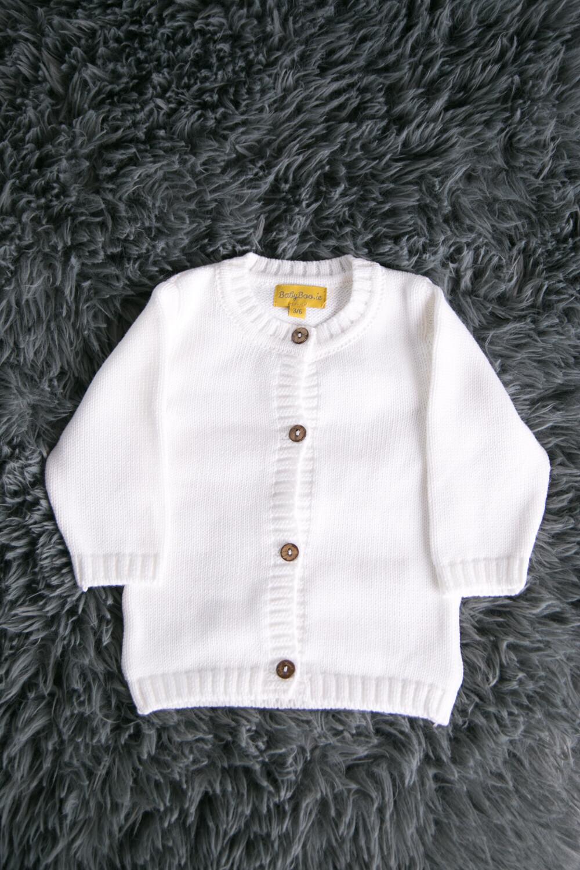 BabyBoo White Organic Baby Cardigan