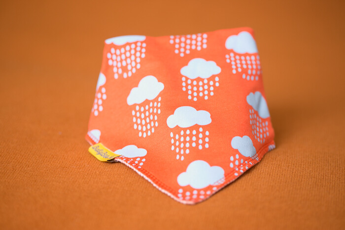 Babyboo  Orange Rainclouds Organic Cotton Bib