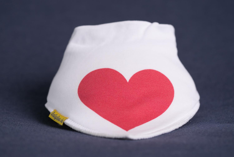 Babyboo LOVE HEART ORGANIC COTTON DRIBBLEBOO BANDANA BIB