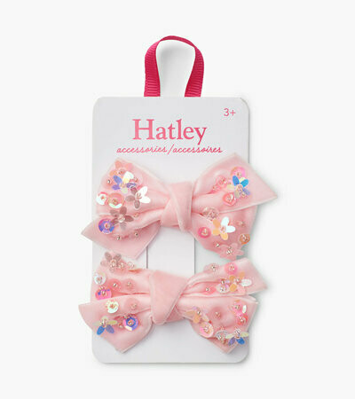 Hatley Sequinned Bow Pink Hair Clips