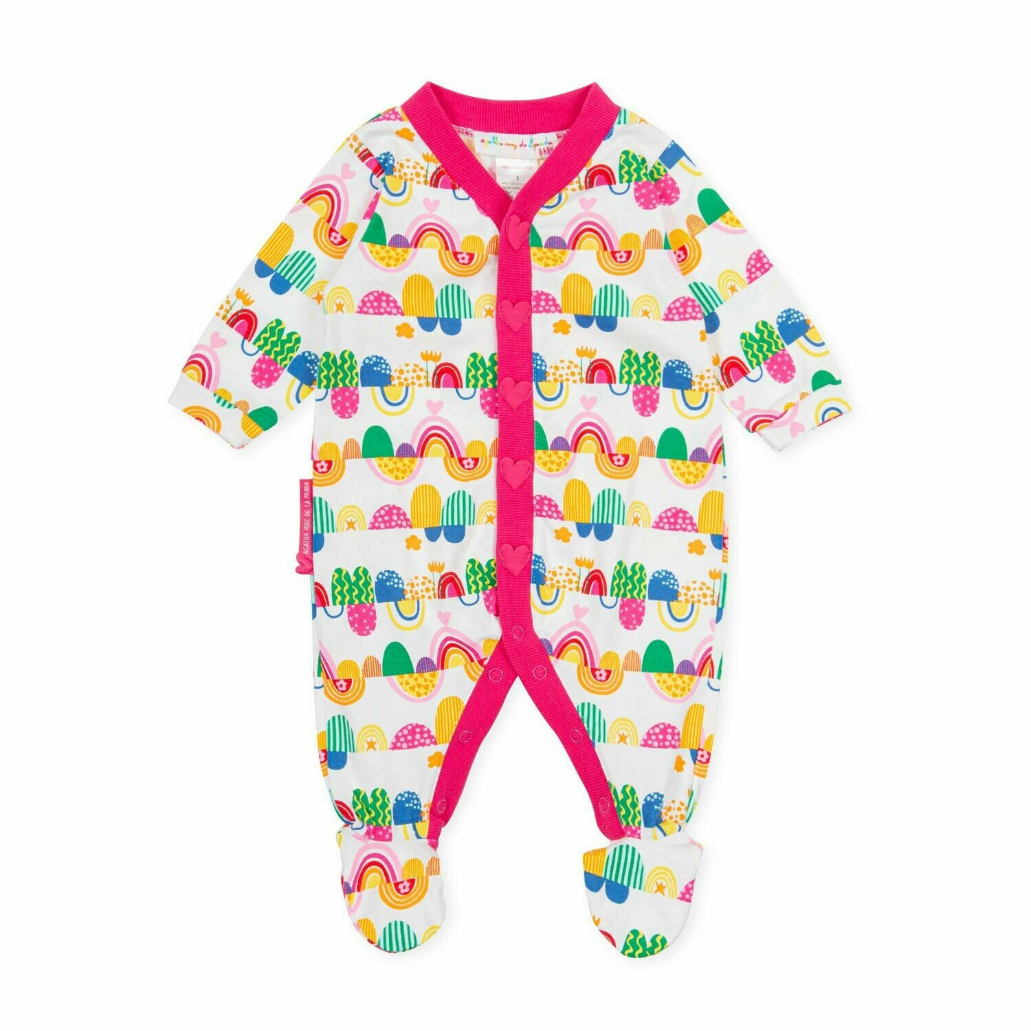 Agatha De La Ruiz Baby White & Pink  All in one Babygro