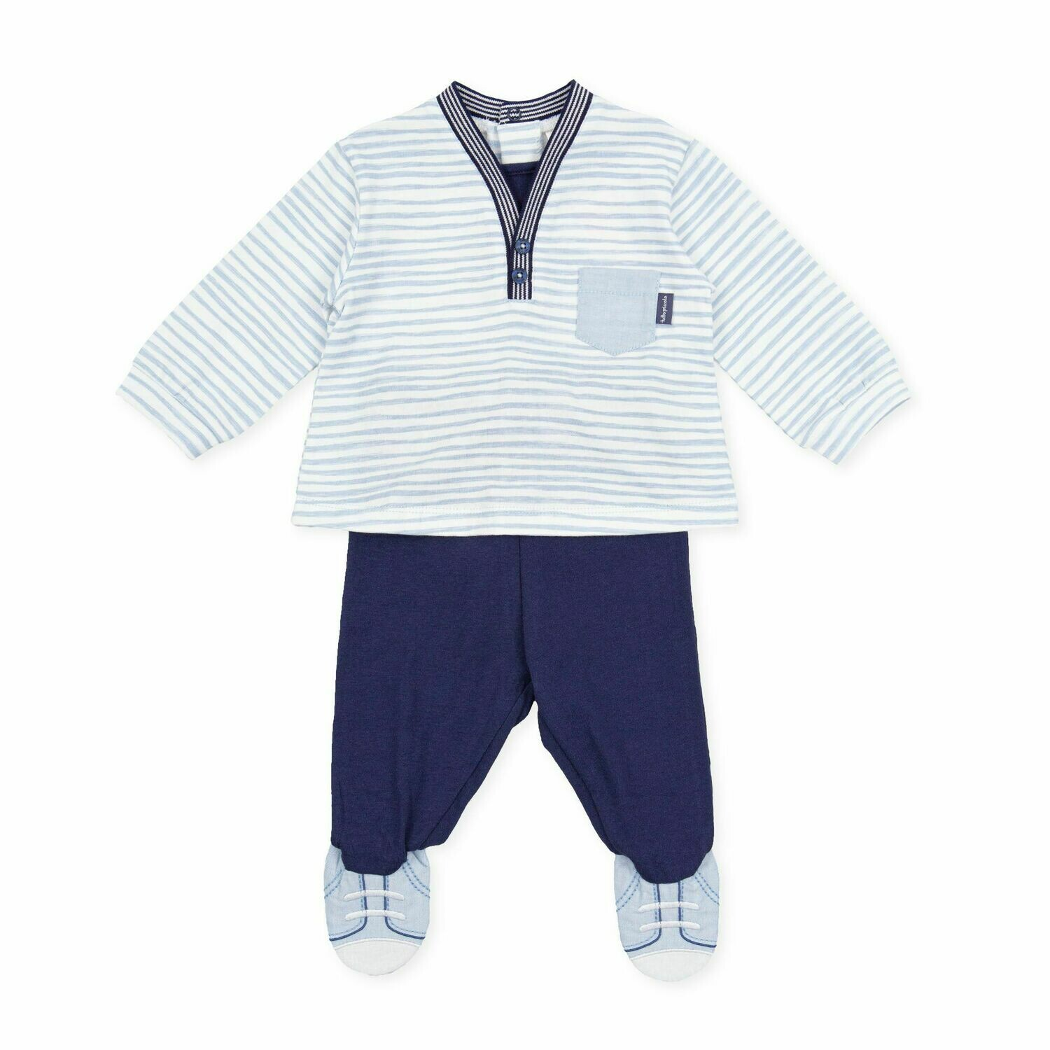 Tutto Piccolo Baby Boy Navy & Pale Blue  Two Piece with Stripes