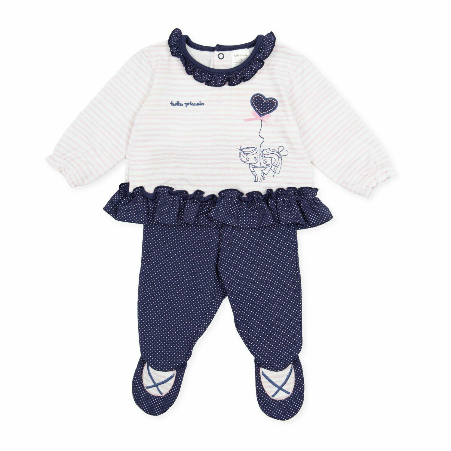 Tutto Piccolo Baby Girl Navy & Pink Two Piece with frill