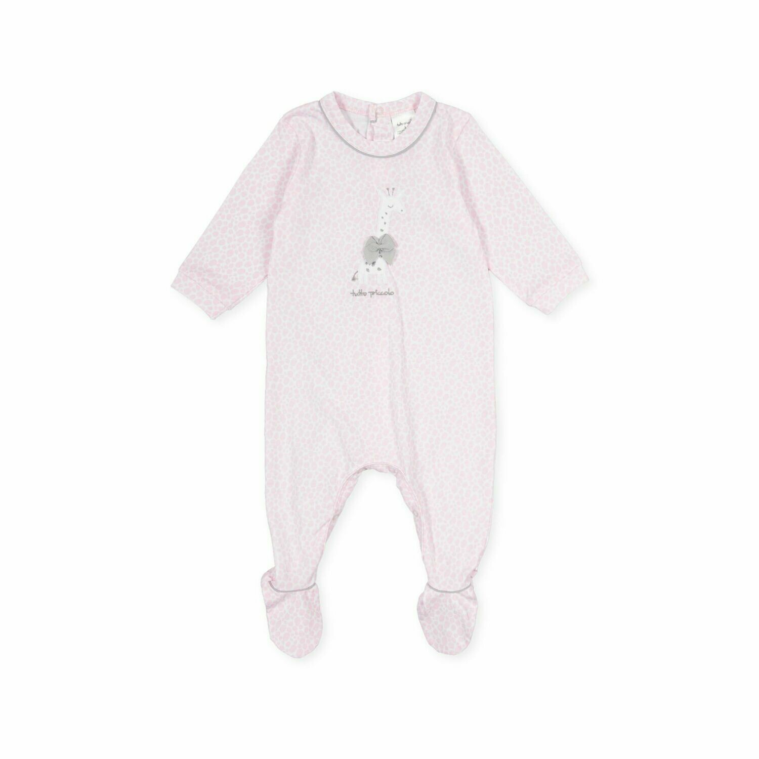 Tutto Piccolo Baby Girl Pink One Piece with feet in and pale pink Girraffe print