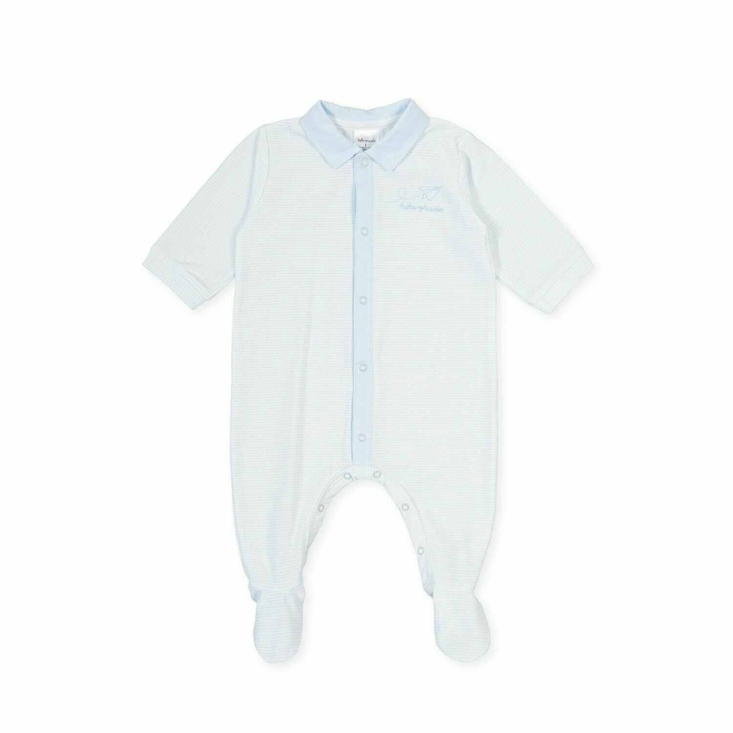 Tutto Piccolo Baby Boy  One Piece with feet in and pale Blue Stripe print