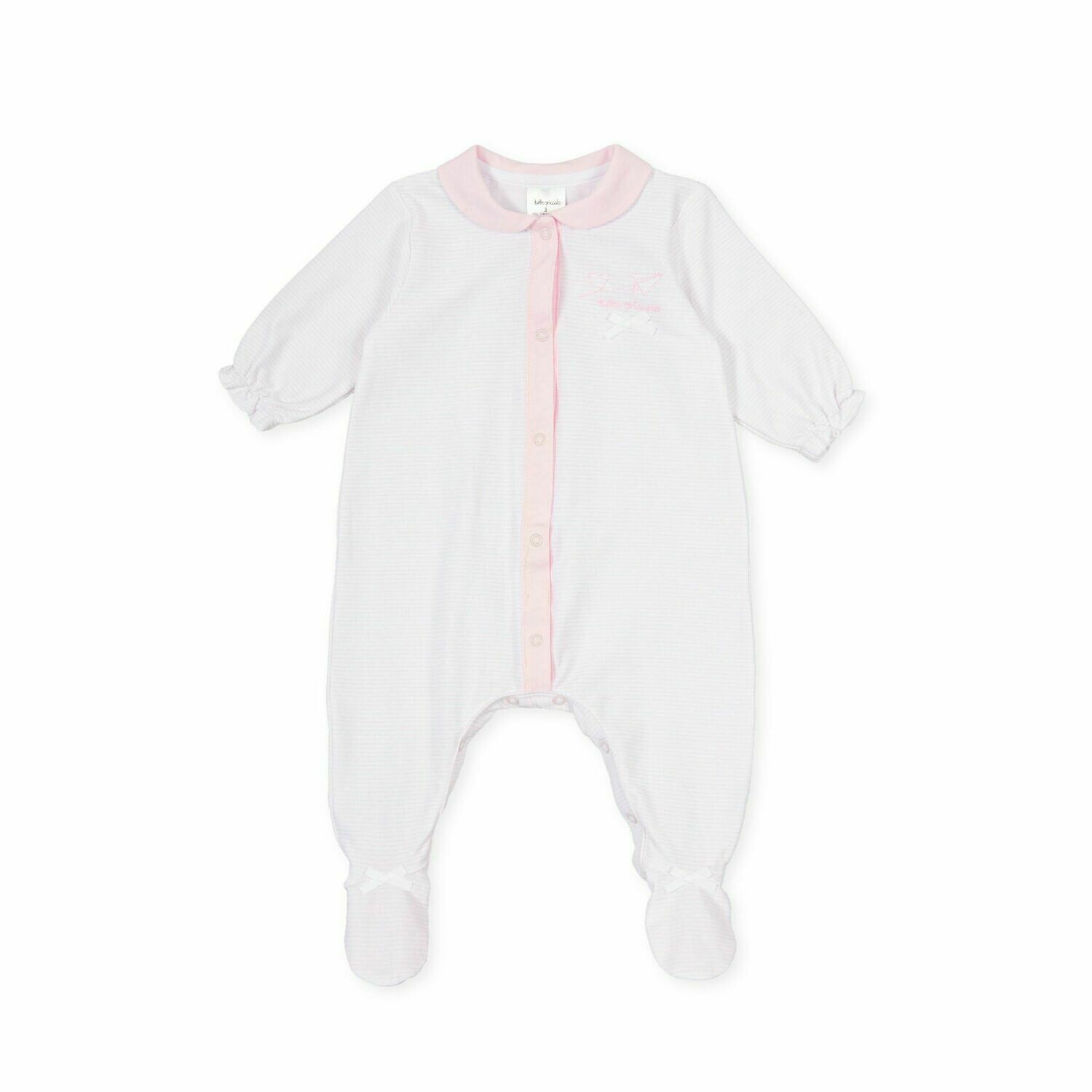 Tutto Piccolo Baby Girl  One Piece with feet in and pale Pink Stripe print