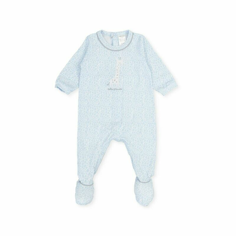 Tutto Piccolo Baby Boy Powder Blue One Piece with feet in and  Girraffe print