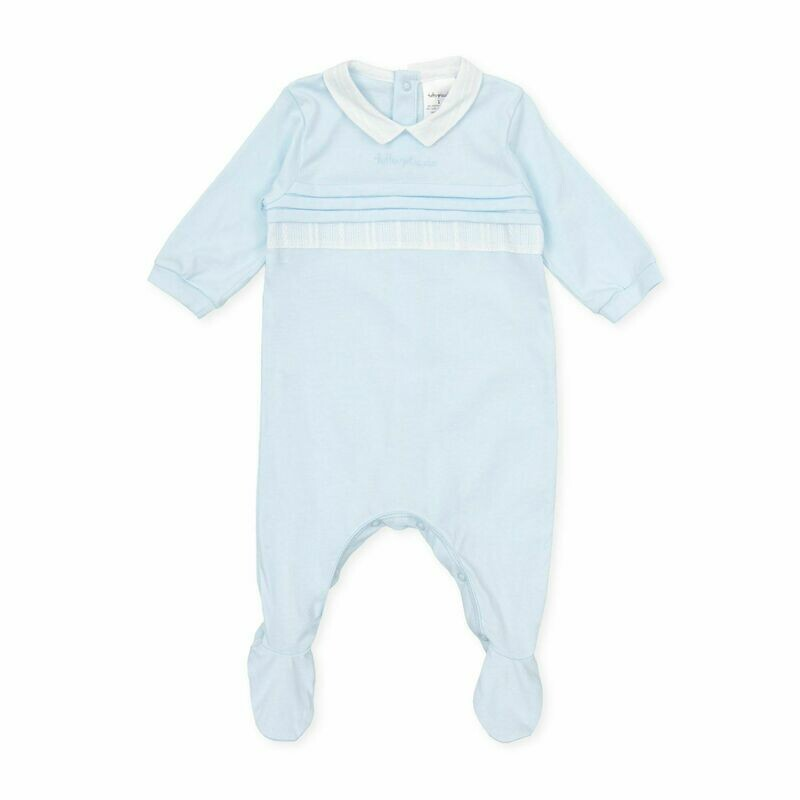 Tutto Piccolo Baby Boy  One Piece with feet in . pale Blue with  Collar .