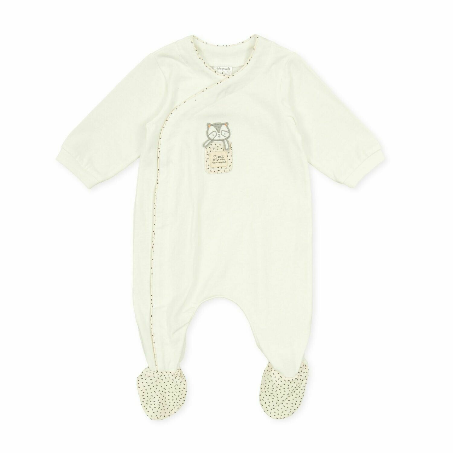 Tutto Piccolo Baby 100%Organic One Piece Off white with feet in .