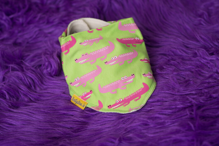 Babyboo SNAP SNAP LIME AND PINK ALLIGATOR ORGANIC COTTON DRIBBLEBOO BANDANA BIB