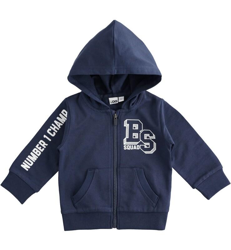 iDO Mini Boys Navy Baseball-themed cotton hoodie