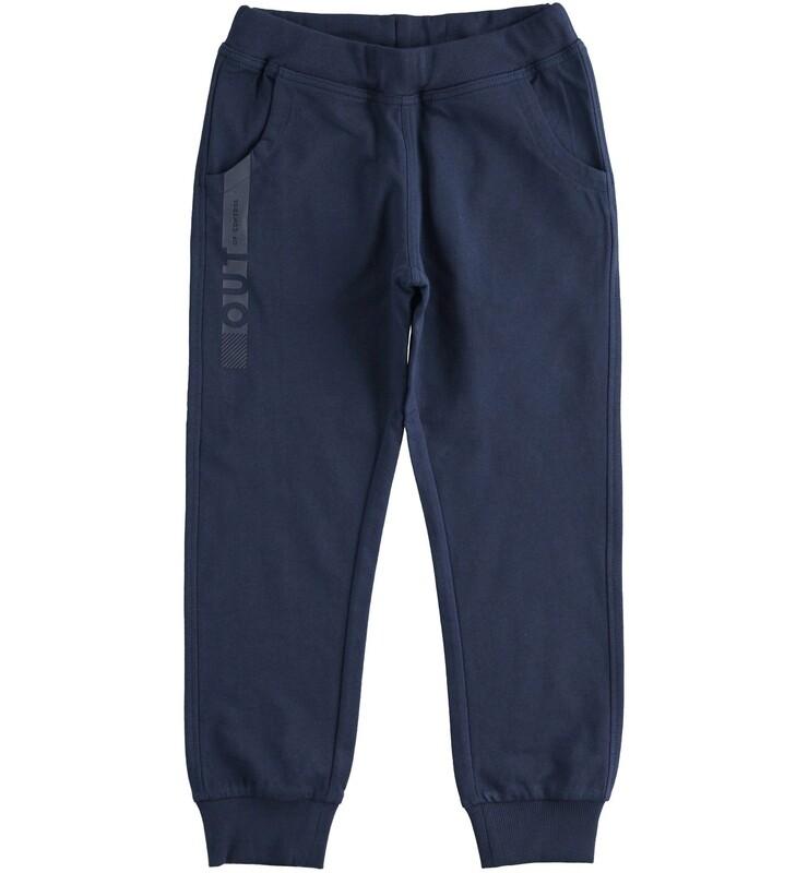iDO Boys Navy Sporty long trousers in cotton fleece