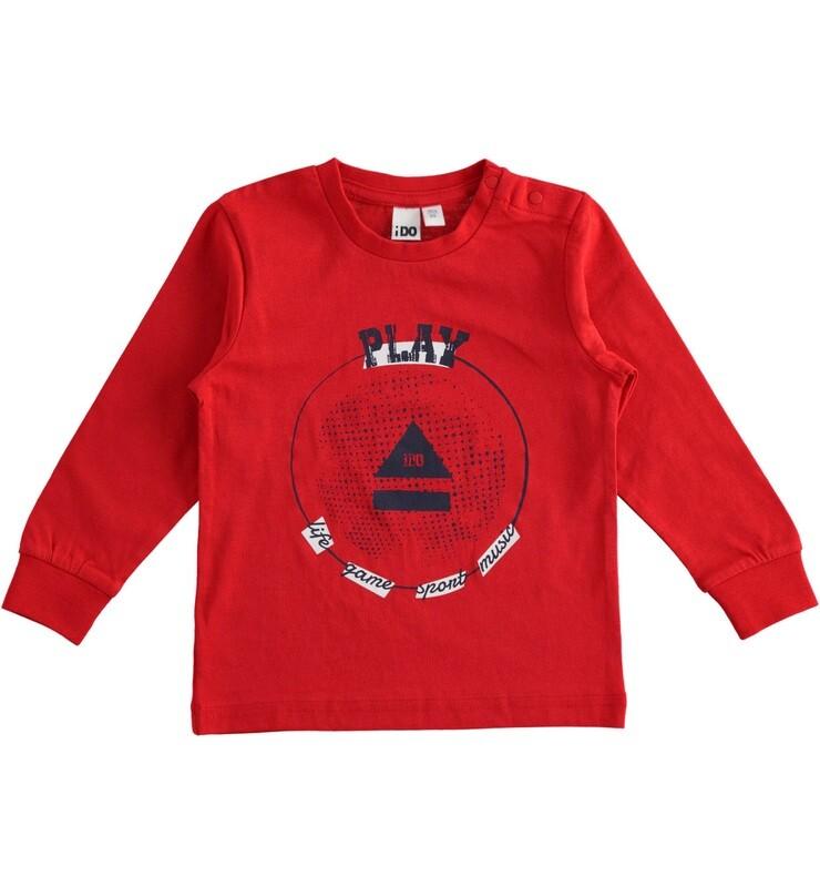 iDO Mini Boys RED Long Sleeved  100% cotton sport print crewneck