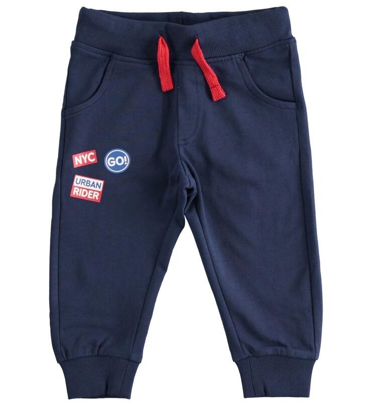 iDO Mini Boys Navy Cotton fleece trousers with print