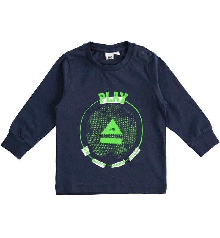 iDO Mini BoysNAVY  Long Sleeved  100% cotton sport print crewneck