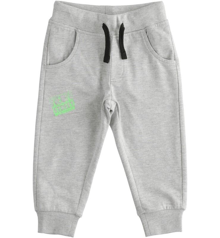 iDO Mini Boys Grey Cotton  fleece trousers with print