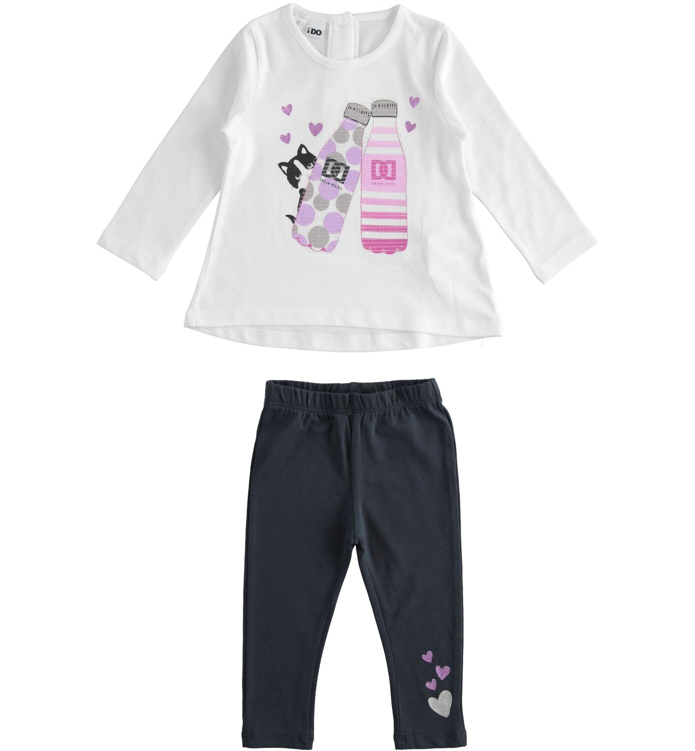 iDO Girls White Maxi jersey outfit with kitten and jersey leggings