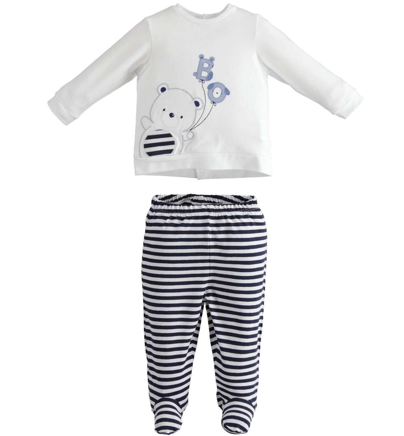 iDO Baby Boy Two-piece romper with elephant and bunny