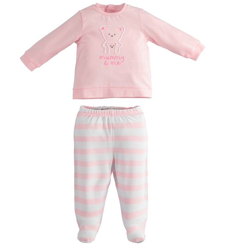 iDO Baby Girl Two-piece romper with foot bears Pink