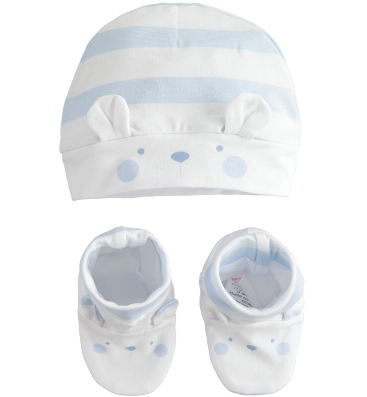iDo Baby Boy  Kit  beanie Hat  and booties Gift Set