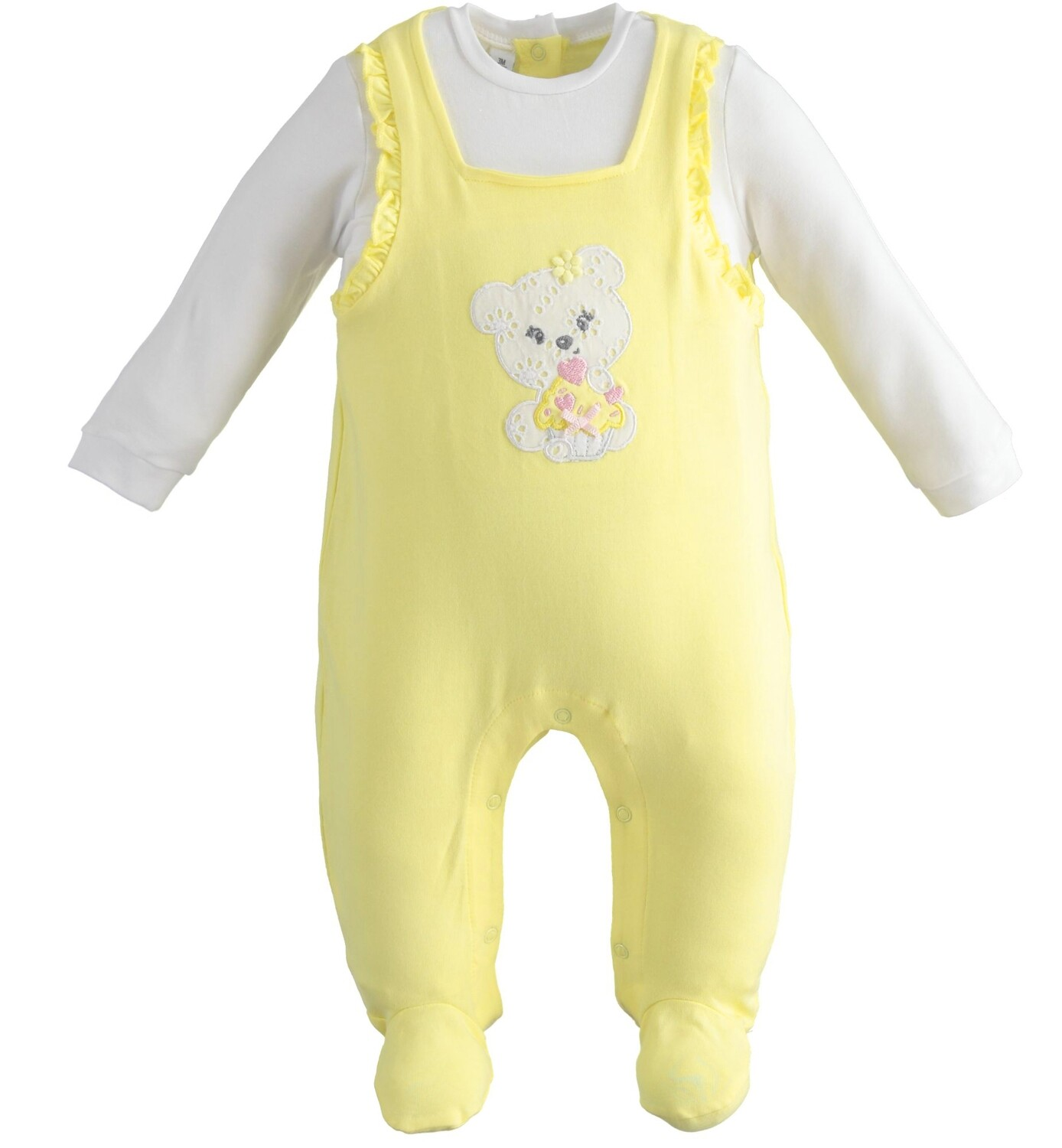 iDO Baby Gilr One-piece romper with dungaree effect teddy bear Yellow
