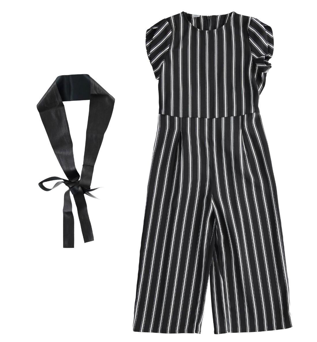 iDO Teen Girls Black & Cream  Jumpsuit and Eco Leather Belt