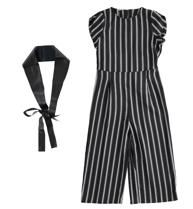 iDO Teen Girls Black & Cream  Jumpsuit and Eco Leather Belt