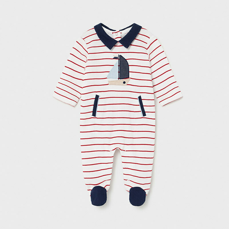 Mayoral Baby Boy Striped Tomato All in one Romper suit