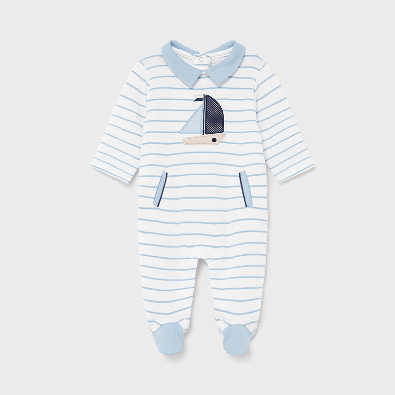 Mayoral Baby Boy Striped Sky Blue All in one Romper suit