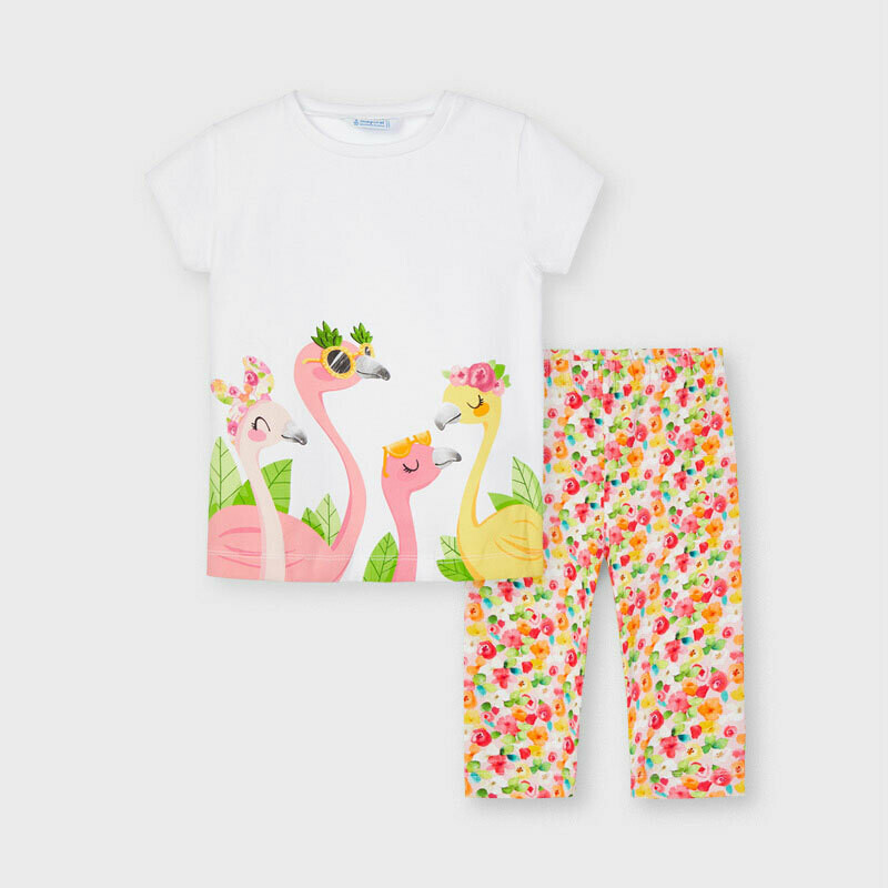Mayoral Girls White  ECOFRIENDS print leggings set